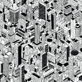 Generic City Seamless Pattern Isometric Royalty Free Stock Photo