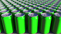 Generic green aluminum cans. Soft drinks or beer production. Recycling packaging. 3D rendering Royalty Free Stock Photo