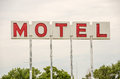 Generic motel sign in the usa with red letters on a white background Stock Image
