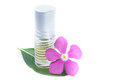 Generic Perfume and Purple Flower, white background Royalty Free Stock Photo
