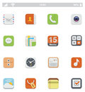 Generic smartphone ui icons set of the square applications Royalty Free Stock Photo
