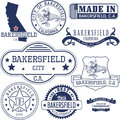 Generic stamps and signs of Bakersfield city, CA
