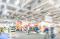 Generic trade show stand with blurred zoom defocusing