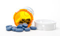Viagra Generic blue pills with bottle Royalty Free Stock Photo