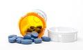 Generic viagra pills blue on white Stock Image