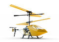 Generic yellow remote controlled helicopter on white ba background Royalty Free Stock Photo