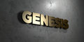 Genesis - Gold sign mounted on glossy marble wall - 3D rendered royalty free stock illustration