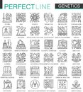 Genetic Engineering and biochemistry outline mini concept symbols. Modern stroke linear style illustrations set. Perfect