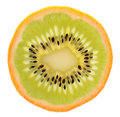 Genetic engineering - kiwi inside of an orange Royalty Free Stock Photography