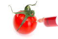 Genetic manipulation tomato is injected Royalty Free Stock Photo