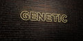 GENETIC -Realistic Neon Sign on Brick Wall background - 3D rendered royalty free stock image