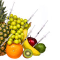 Genetically modified fruits isolated on white gmo concept pineapple kiwi grapes banana apple and lime genetic injection Stock Photo