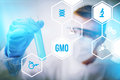 Genetically modified organism gmo or research design concept illustration Stock Photo