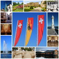 Geneva city collage switzerland with swiss flag saint peter cathedral flowers clock bastions university outdoor chessgame old Stock Images