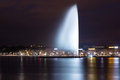 Geneva fountain at night Royalty Free Stock Photo
