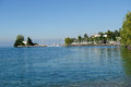 Geneva lake in montreux the canton of vaud switzerland Royalty Free Stock Images