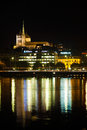 Geneva Old Town Cathedral Night Office Lights V Royalty Free Stock Images