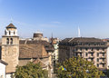Geneva panorama of from the place next to the cathedral saint pierre Stock Photography