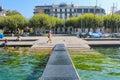 GENEVA - SEPTEMBER 07: moorage at Geneva lake on September 07, 2012 in Geneva, Switzerland. Geneva is the second most populous cit Royalty Free Stock Photo
