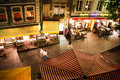 Geneva street and restaurants seen from above at night Royalty Free Stock Image