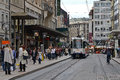 Geneva street with tram Royalty Free Stock Image