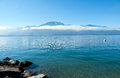 Geneve lake in montreux the canton of vaud switzerland Stock Photo