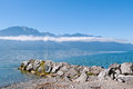 Geneve lake in montreux the canton of vaud switzerland Stock Photos