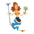 Genie djinn cleaning girl character magic lamp flat vector illustration treasure arabian aladdin miracle coming out on