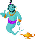 Genie granting the wish appear from magic lamp Stock Photos