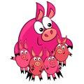 Genitore e bambini animali del fumetto family.pig Fotografia Stock Libera da Diritti