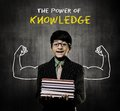 Genius Boy Holding Books Wearing Glasses, Power Of Knowledge Royalty Free Stock Photo