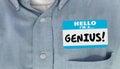 Genius Educated Name Tag Sticker Word Shirt Royalty Free Stock Photo