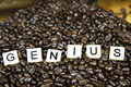 Genius game tiles set in coffee beans Stock Photo