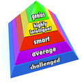 Genius intelligence level pyramid steps a of reading highly intelligent smart average and challenged to represent levels of people Stock Image