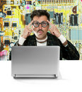 Genius nerd electronic engineer tech man thinking Stock Photos