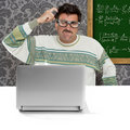 Genius nerd silly glasses thinking gesture Stock Photo