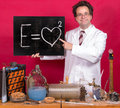 Genius shows mathematical formula professor in the laboratory a blackboard with Royalty Free Stock Photos