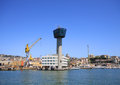 Genoa harbor control tower and general view as it was before the fall for the collision with jolly nero ship on th may image taken Royalty Free Stock Photo