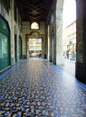 Genoa italy arcade with mosaic tiles floor in Royalty Free Stock Photography