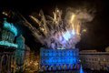 Genoa italy december happy new year and merry xmas fireworks in town main place Royalty Free Stock Photo