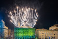 Genoa italy december happy new year and merry xmas fireworks in town main place Royalty Free Stock Image