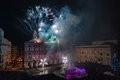 Genoa italy december happy new year and merry xmas fireworks in town main place Stock Photography