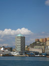 Genoa italy harbor with ships in Stock Images