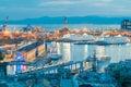 Genoa. Seaport night. Royalty Free Stock Photo