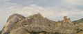 Genoese fortress on a mountain top Royalty Free Stock Photo