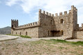 Genoese fortress ruins of ancient wall and tower Royalty Free Stock Image