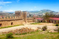Genoese fortress ruins of ancient wall and tower Royalty Free Stock Photography