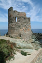 Genoese tower of Erbalunga at Cap Corse Stock Photos