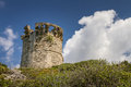 Genoese tower at farinole on cap corse in corsica beach northern Stock Photos