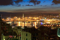 Genova and the port at evening overview of thev ancient in liguria italy Royalty Free Stock Photos